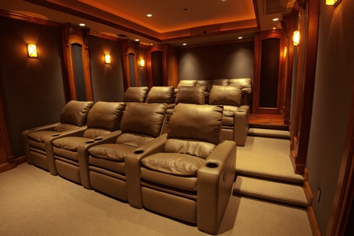 its obvious when entering this grand custom crafted theater which part of its design took priority the audio a contact sensor on the door that leads - Home Theater Stage Design