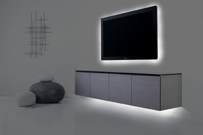 ... New Floating Wall Bracket Creates An Unusual And Dramatic Look For All  Nine Styles Of Salamanderu0027s Flagship Chameleon Collection Of A/V Cabinets.