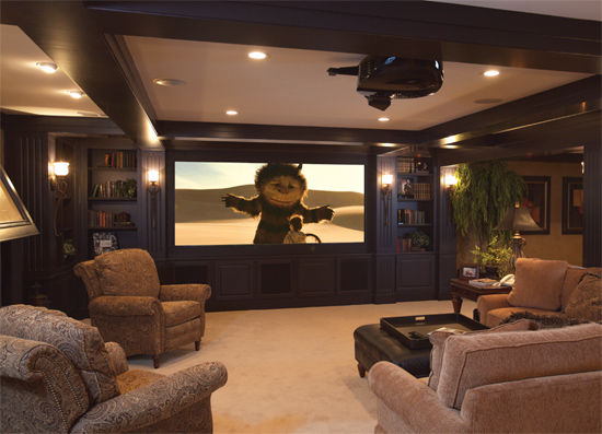 8 incredible home theater transformations audio impact for Basement theater room