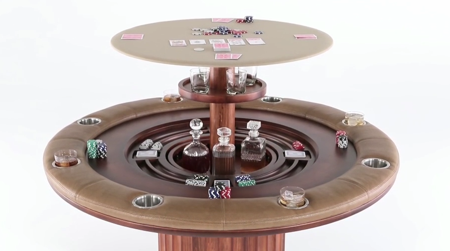 Nexus lifts introduces their speakeasy poker table audio impact this circular poker table features a grecian pedestal and classic circular design but when you get thirsty a surprise awaits a mini bar with room for watchthetrailerfo